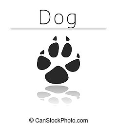 Dog animal track with name and reflection on white ...