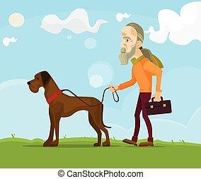 dog., apartamento, andar, antigas, personagem, ilustração, vetorial, caricatura, homem