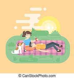 dog., appartamento, stile, picnic, coppia, parco, giovane, illustrazione, vettore, detenere, felice