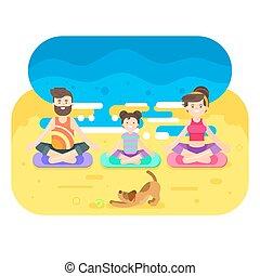 dog., appartamento, stile, yoga, famiglia, illustrazione, vettore