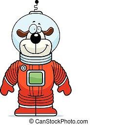 Dog Astronaut - A happy cartoon dog astronaut standing and...