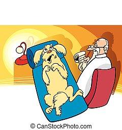 Dog at Psychotherapist - Illustration of Dog at...