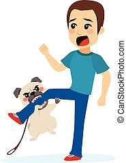 Dog Attacking - Dog attacking young scared man biting his...