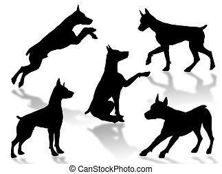 Dog attitudes - Dog silhouettes in different poses and...