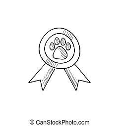 Dog award sketch icon.