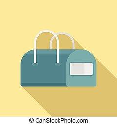 Dog bag icon, flat style