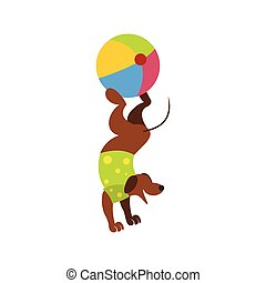 Dog ball balancing act icon