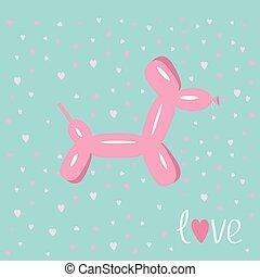 Dog balloon animal Pink hearts Bue background Love card Flat design
