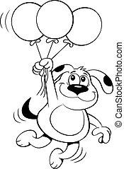 dog Balloons BW