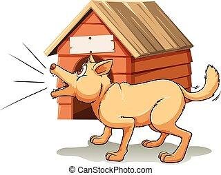 Dog barking in front of dog house illustration