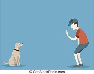 Dog Basic Command Stay Man Illustration