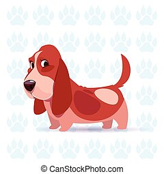 Dog Basset Hound Happy Cartoon Sitting Over Footprints Background Cute Pet