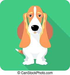 dog Basset Hound icon flat design