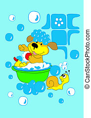 dog bathing with a duck in the pelvis