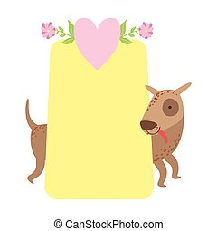 Dog Behind Paper Vector Sticker, Template St. Valentines Day Message Element Missing Text With Cute Animal Character