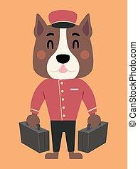 Dog Bell Boy Bags Illustration