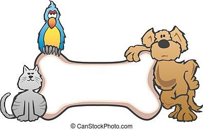 Dog, Bird and Cat Pet Sign - Friendly pet shop style cartoon...