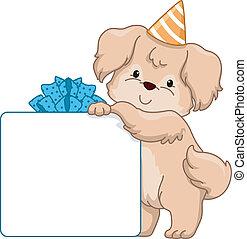 Dog Birthday Gift Board - Board Illustration Featuring a Dog...