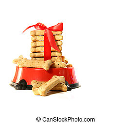 Dog biscuits in bowl