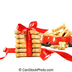 Dog biscuits wrapped with red bow
