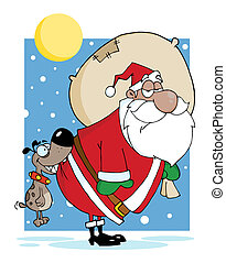 Dog Biting A Black Santas Butt