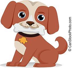 Dog biting a Bone