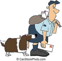 This illustration depicts a springer spaniel dog biting a letter carrier.