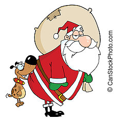 Dog Biting A Santa Claus