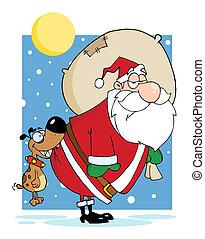 Dog Biting Santas Butt