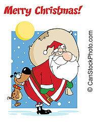 Merry Christmas Greeting With Dog Biting A Santa Claus In The Night