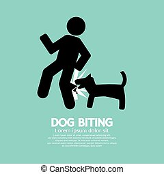 Dog Biting Symbol Vector Illustration.