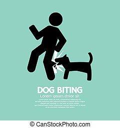 Dog Biting Symbol Vector Illustration.