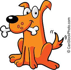 A cartoon dog with a bone.