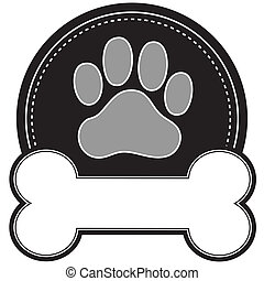 Dog Bone and Paw - A dog pawprint and dog bone with room for...