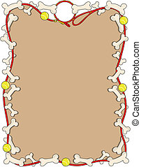 Dog Bone Border - A border or frame featuring a dog leash...