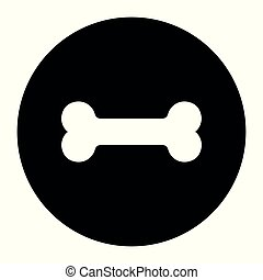 Dog bone icon. Pets food symbol. Flat signs in circles. Round buttons for web.