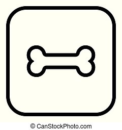 Dog bone sign icon. Pets food symbol. squares buttons with frame. Vector