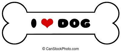 Dog Bone With Text - Black Red And White I Heart Dog Bone...