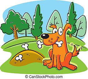 Dog Bones - A happy cartoon dog burying bones in the ground.