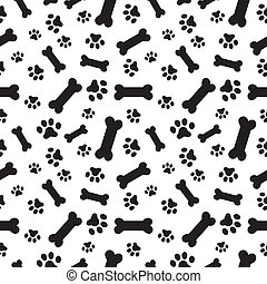 Dog bones and paws pattern - a random pattern of dogs paws ...