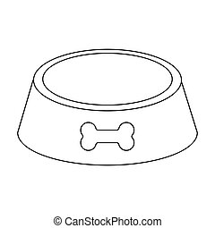Outlined empty dog bowl. Black and white dog bowl food ... - photo#21