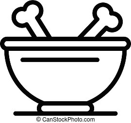 Dog bowl with bones icon, outline style