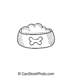 Dog bowl with food sketch icon.