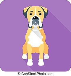 dog Boxer icon flat design - Vector serious dog Boxer...