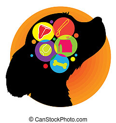 A silhouette of a dogs head with icons representing the things he may be thinking about, food, home, playing and treats