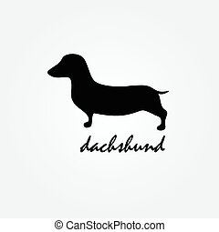 Dog breed dachshund silhouette vector logo design template -...