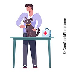 Dog breeding and care for pets health vector