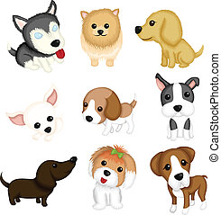 A vector illustration of different dog breeds
