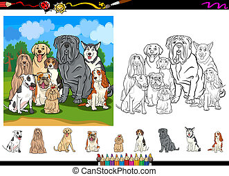 Cartoon Illustrations of Funny Purebred Dogs Characters Group for Coloring Book with Elements Set