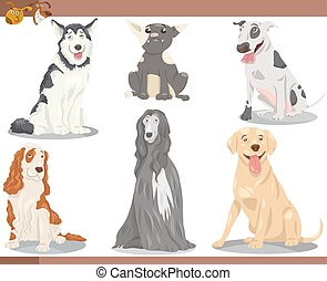 dog breeds cartoon illustration set - Cartoon Illustration ...